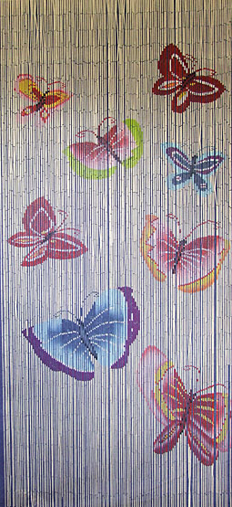 Bamboo Door Curtain With Butterflies