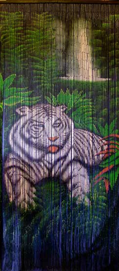 Bamboo Doorway Curtain With White Tiger And Waterfall