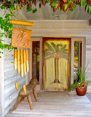 Painted hawaiian bamboo bead door hanging with palm tree