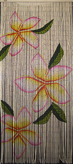 Painted Bamboo Bead Partition With Plumeria Design
