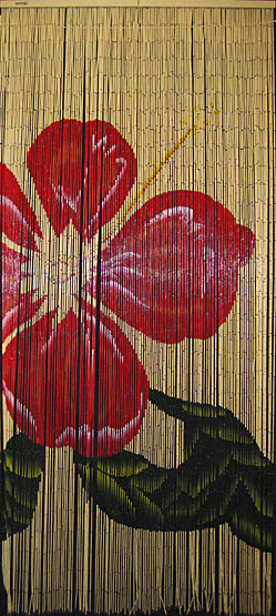 red hibiscus bamboo picture curtain