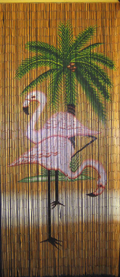 Bamboo Bead Curtain With Flamingo